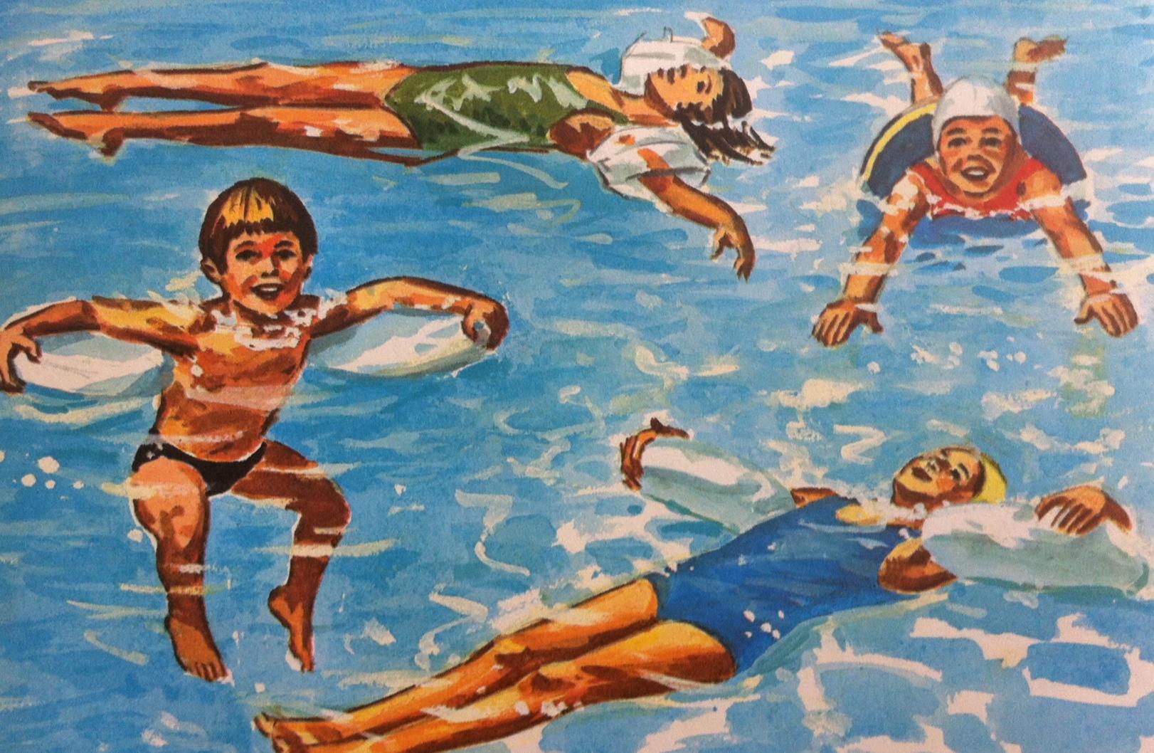 back float pool scene drawing