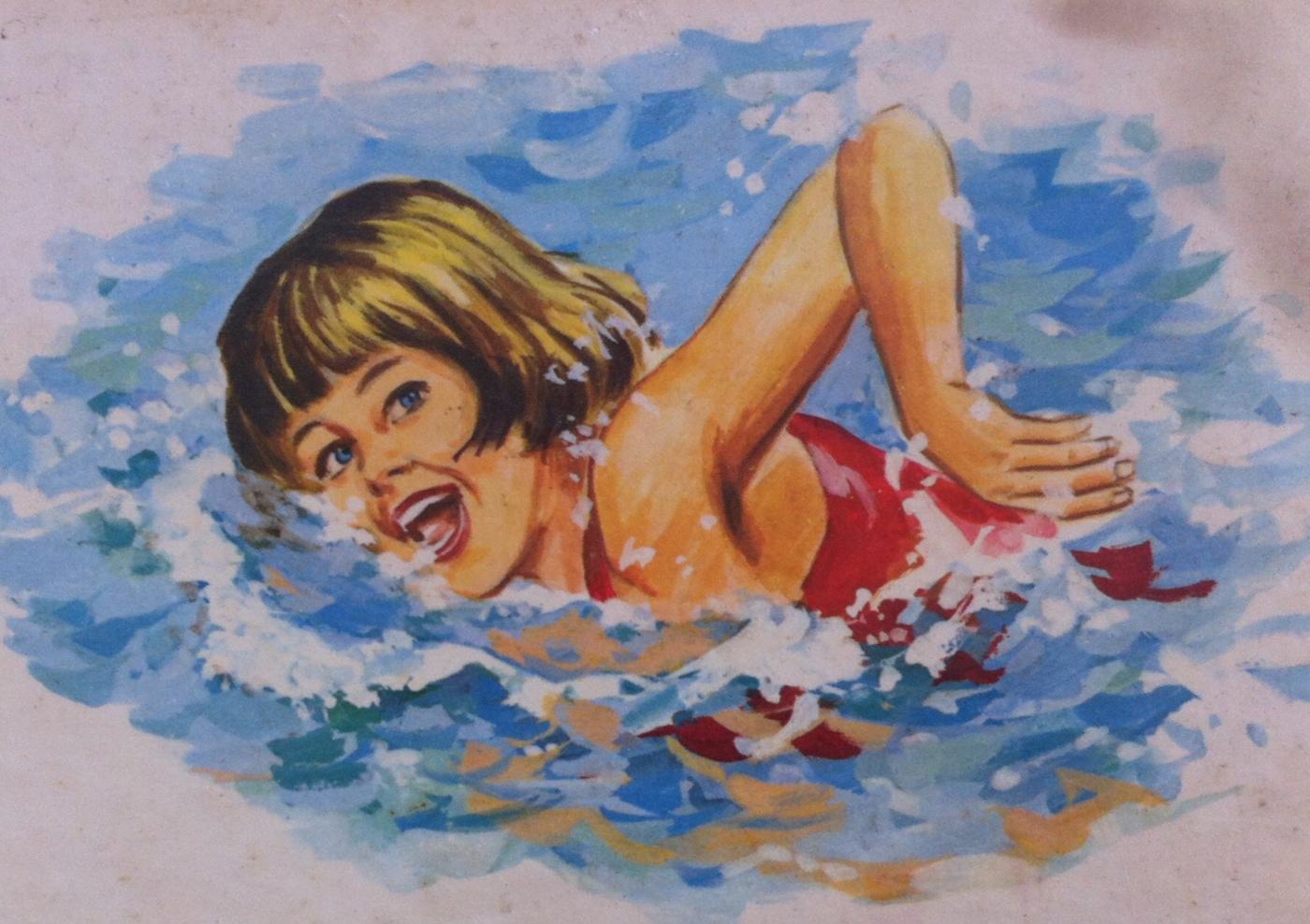 girl swimming drawing