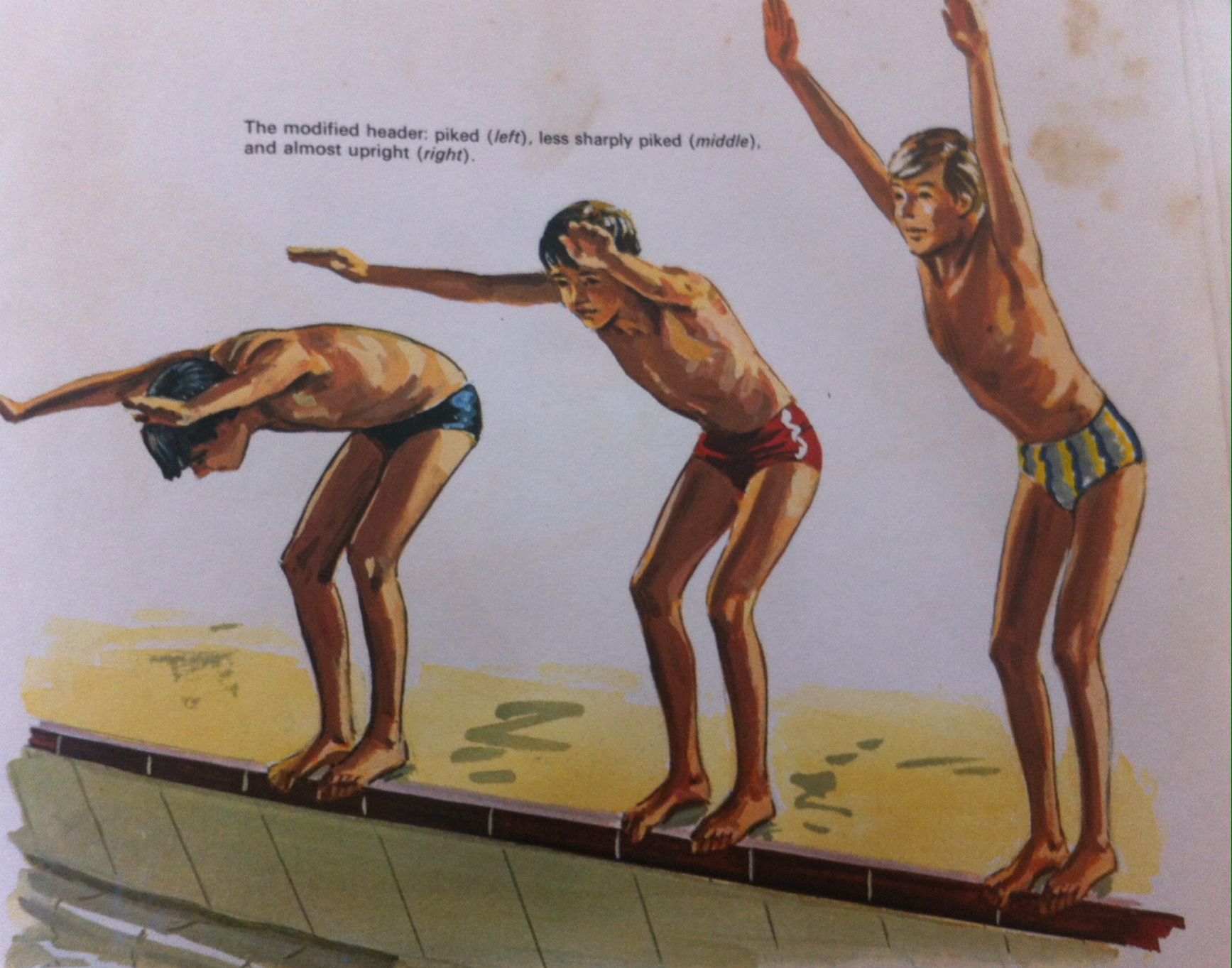pool dive 3 boys scene drawing