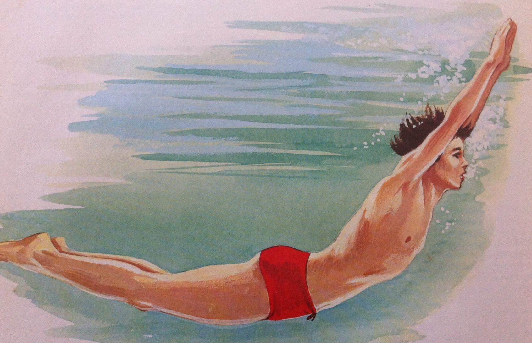 underwater dive scene drawing