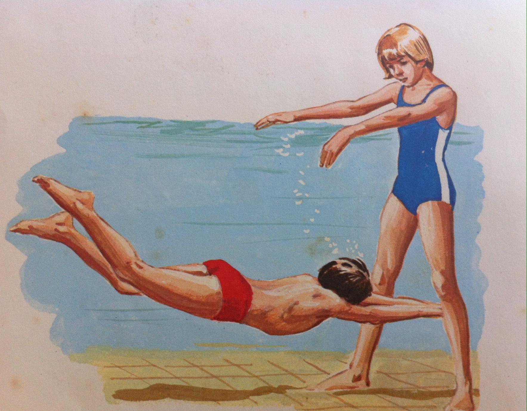 underwater leg swim drawing